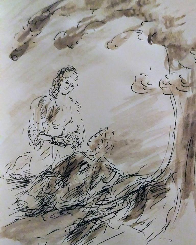 26 février 2018, évangile du jour illustré par un dessin au lavis