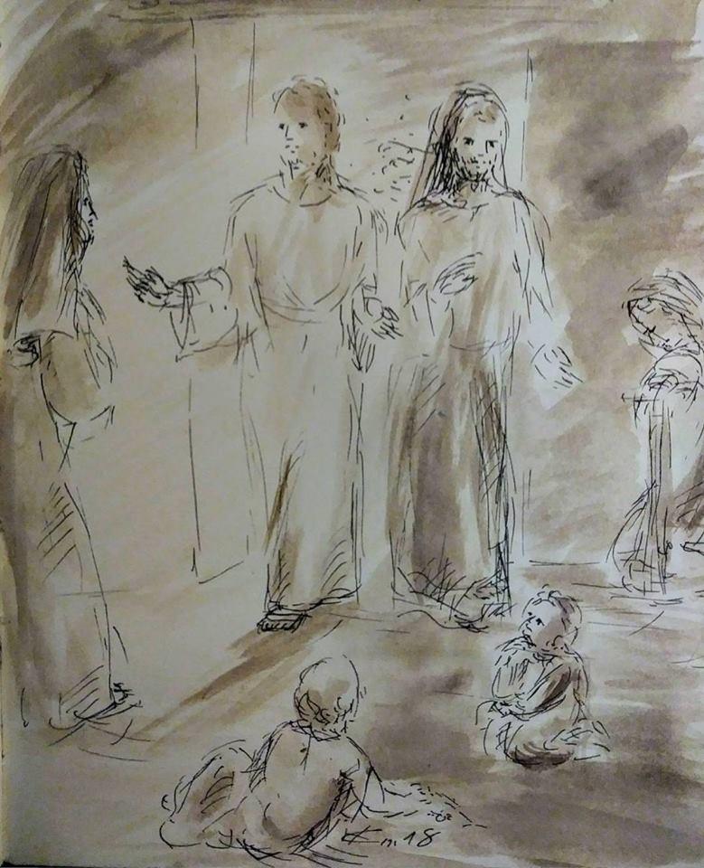 26 Janvier 2018, évangile du jour illustré par un dessin au lavis