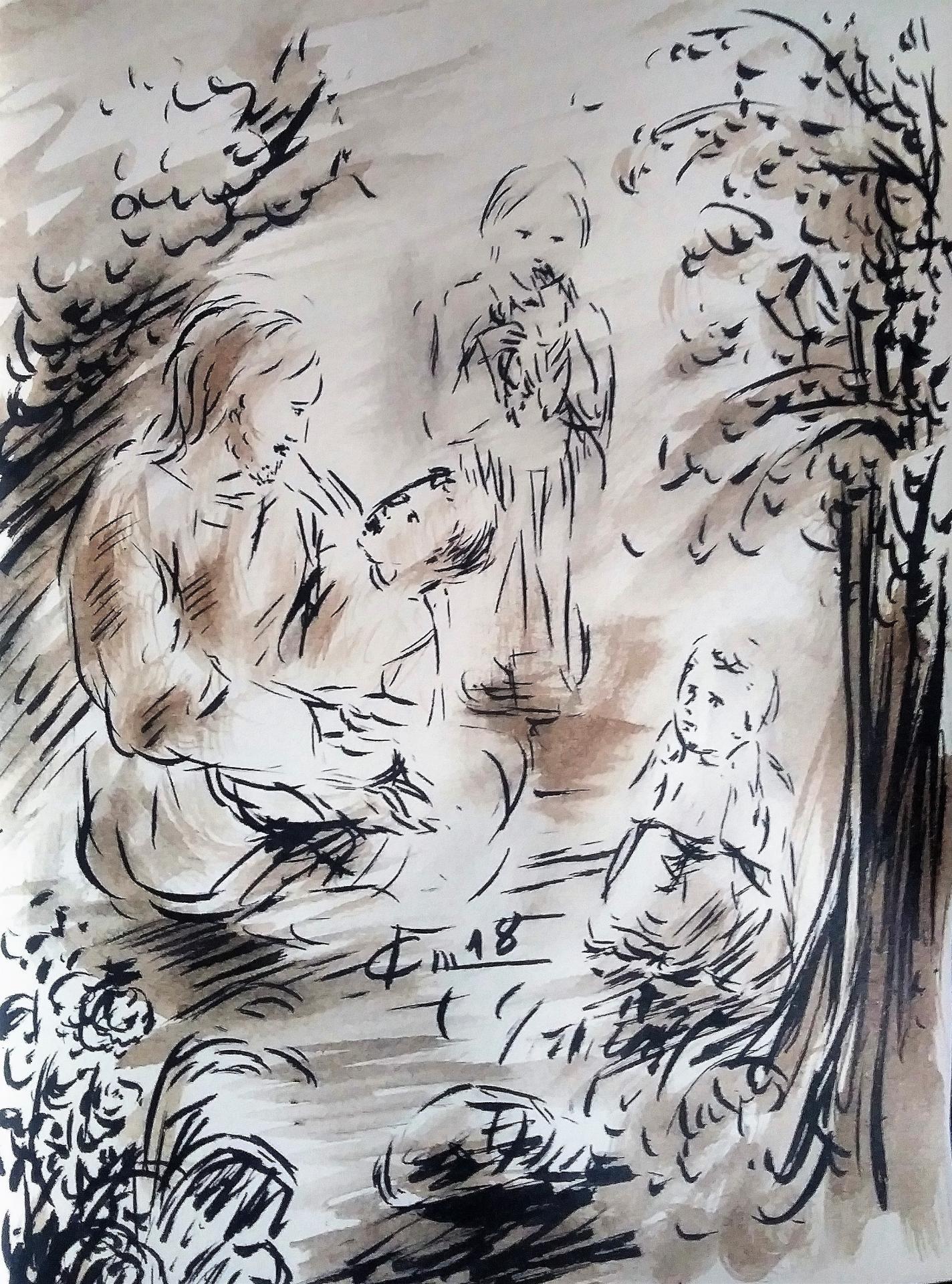 26 mai 2018 evangile du jour illustre par un dessin au lavis de jean joseph chevalier