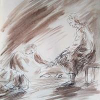 26 mars 2018 evangile du jour illustre par un dessin au lavis de jean joseph chevalier 1
