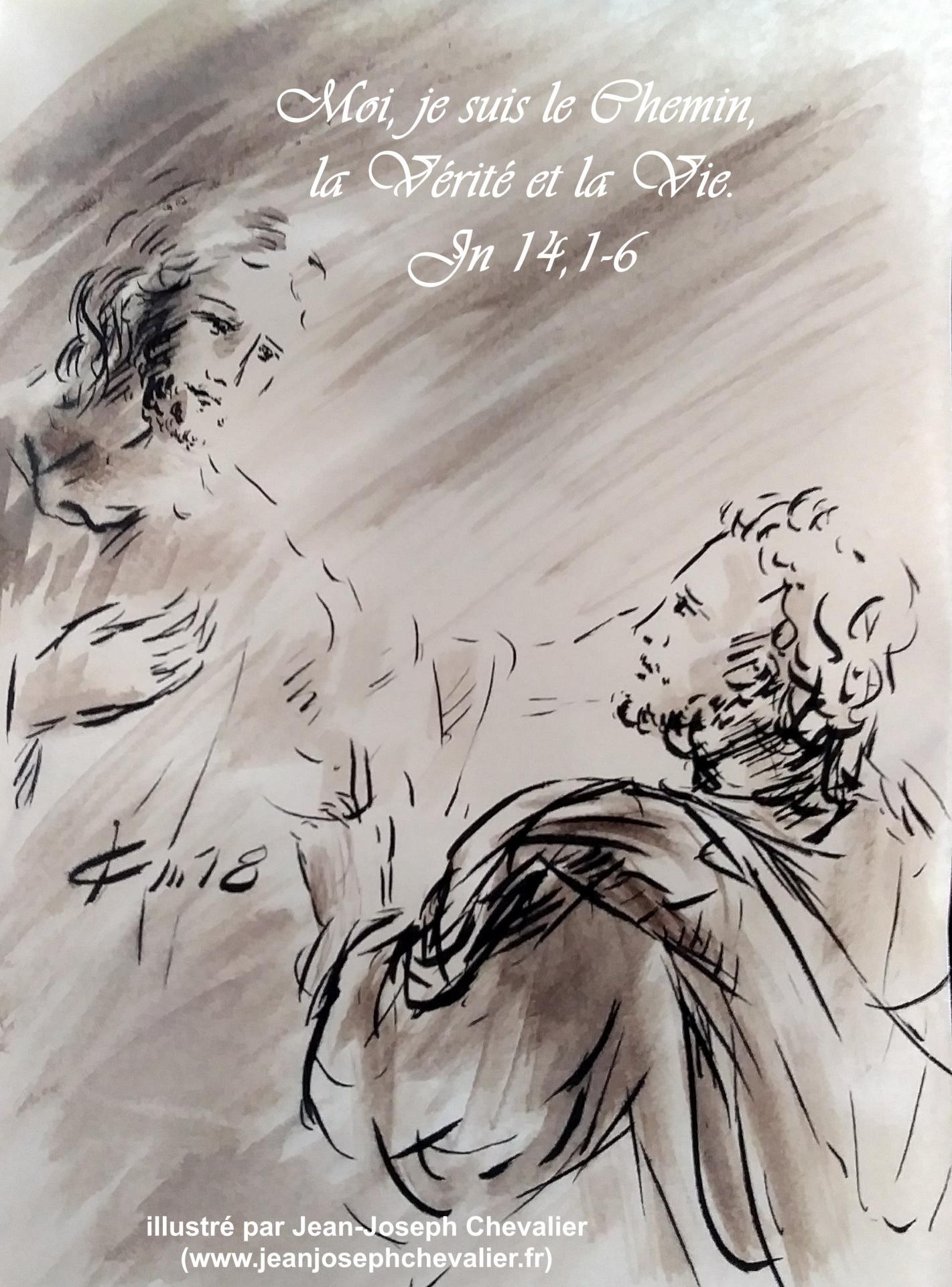 27 avril 2018 evangile du jour illustre par un dessin au lavis de jean joseph chevalier image