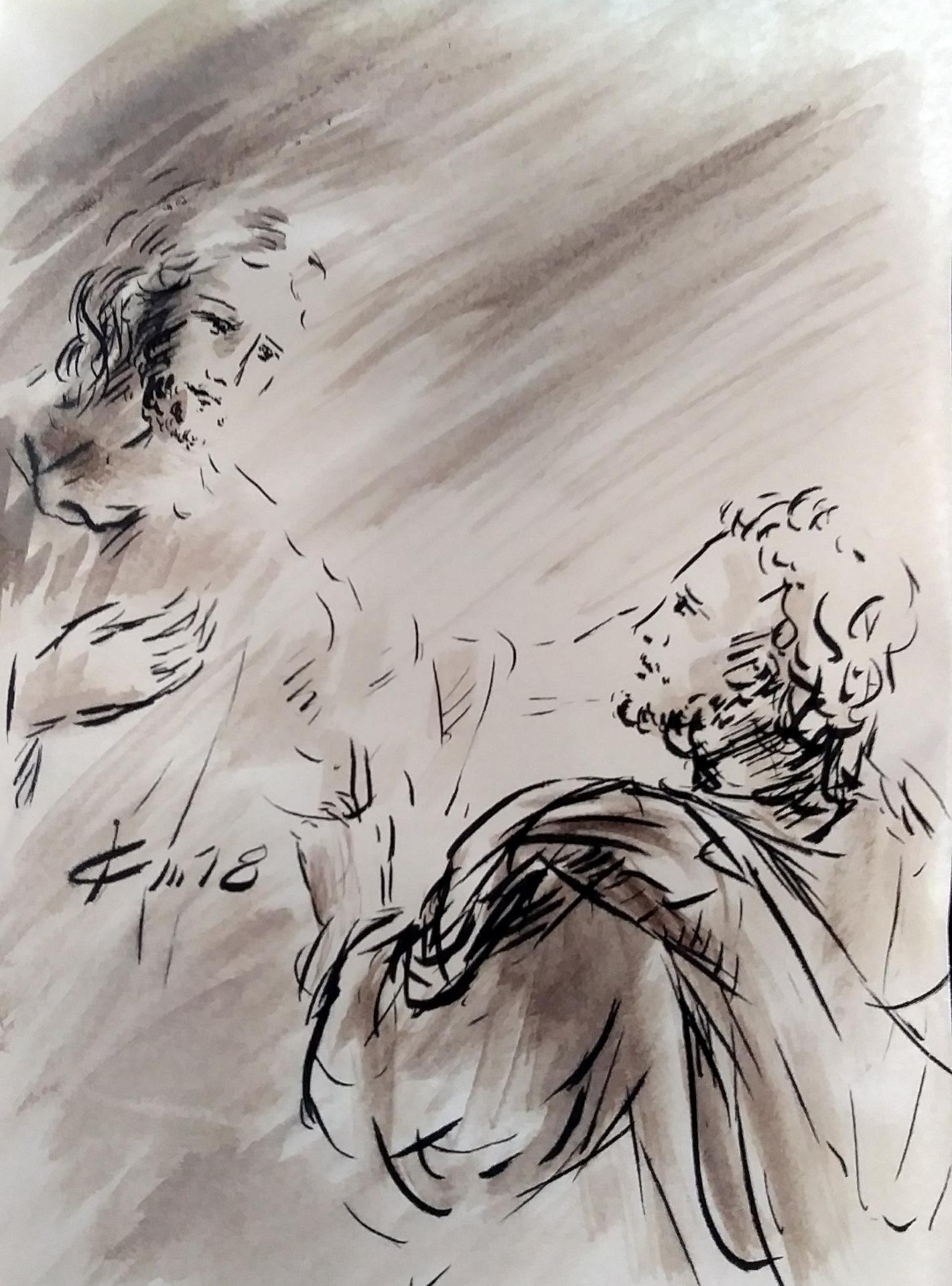 27 Avril 2018, évangile du jour illustré par un dessin au lavis