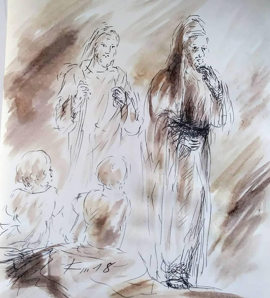 27 février 2018, évangile du jour illustré par un dessin au lavis