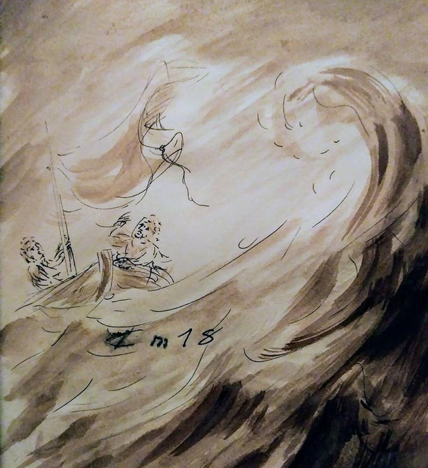 27 Janvier 2018, évangile du jour illustré par un dessin au lavis