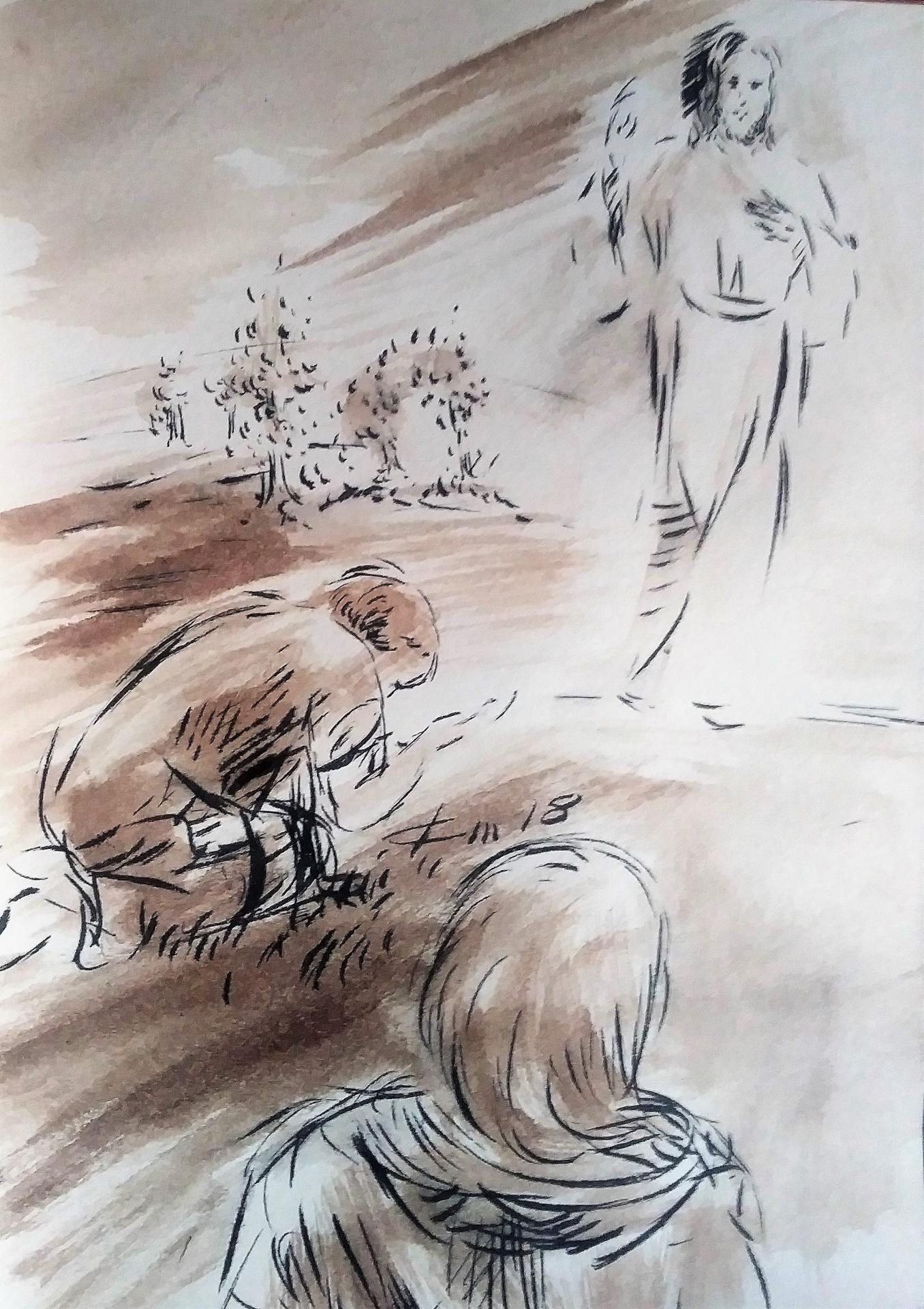 27 Mai 2018, évangile du jour illustré par un dessin au lavis