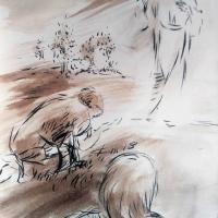 27 mai 2018 evangile du jour illustre par un dessin au lavis de jean joseph chevalier