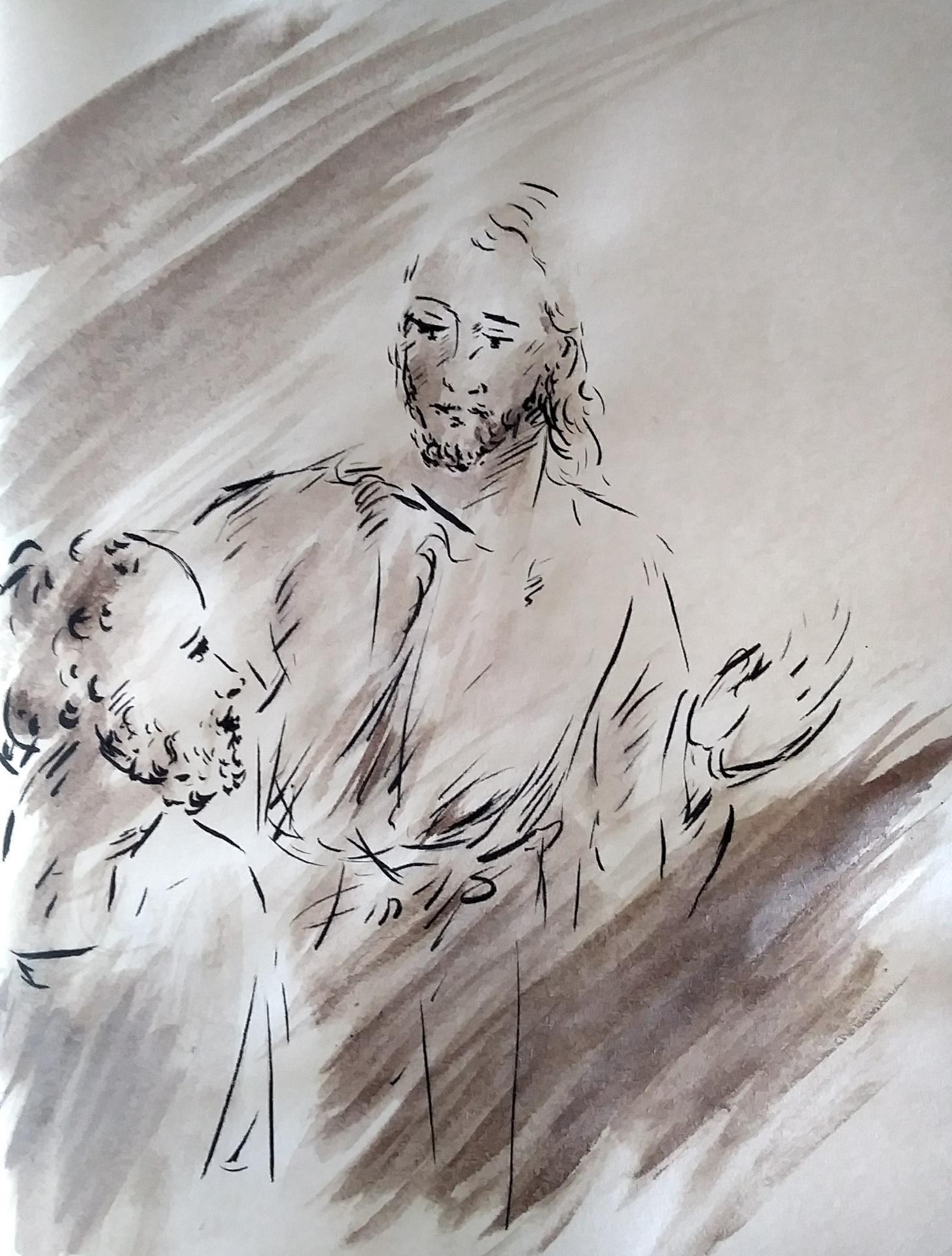 28 Avril 2018, évangile du jour illustré par un dessin au lavis