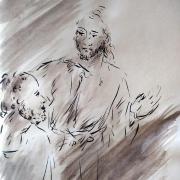 28 avril 2018 evangile du jour illustre par un dessin au lavis de jean joseph chevalier