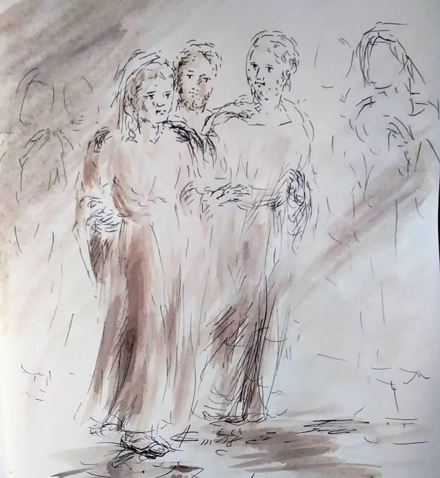 28 février 2018, évangile du jour illustré par un dessin au lavis