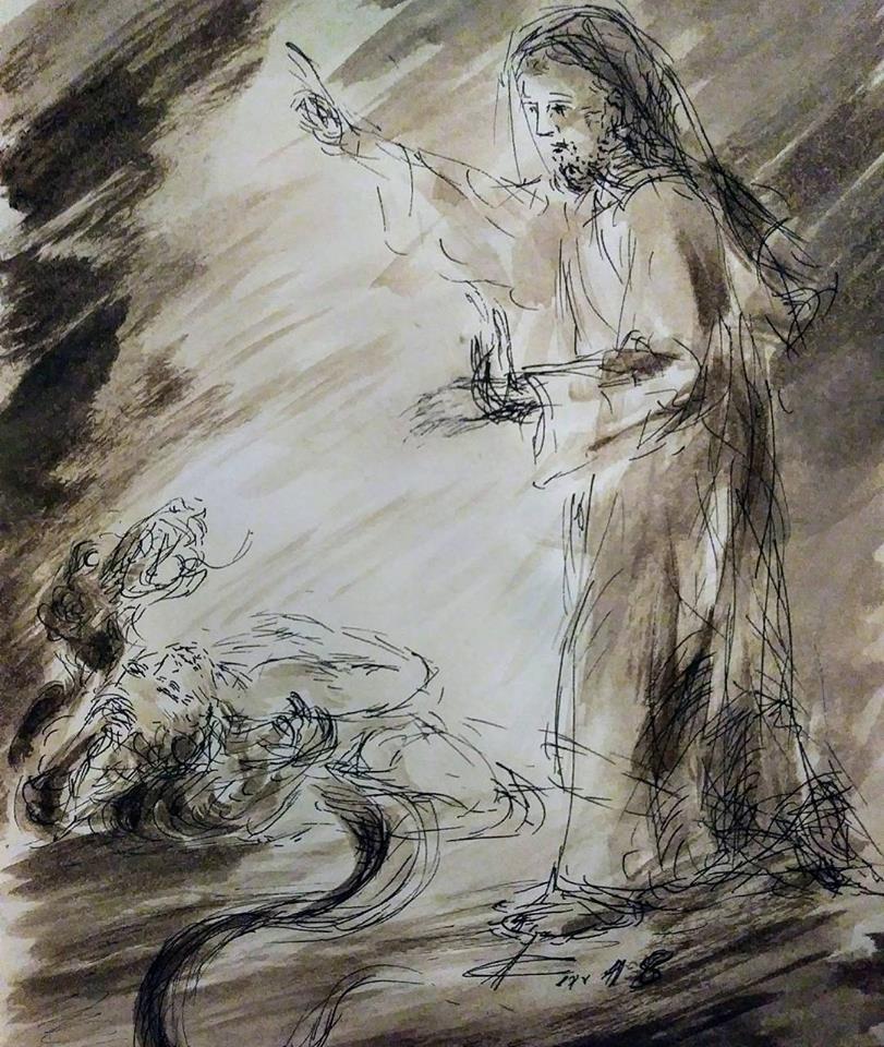 28 Janvier 2018, évangile du jour illustré par un dessin au lavis