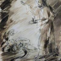 28 janvier 2018 image evangile du jour illustre par un dessin au lavis de jean joseph chevalier