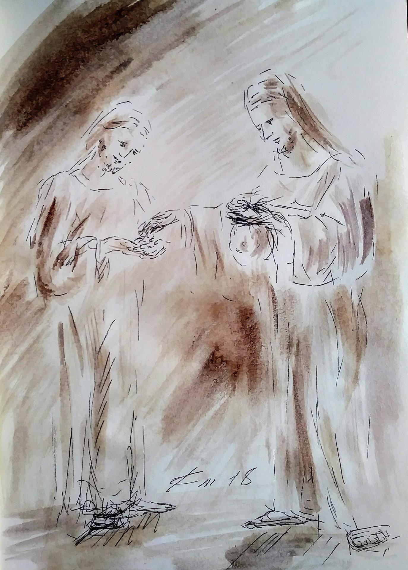 28 mars 2018 evangile du jour illustre par un dessin au lavis de jean joseph chevalier