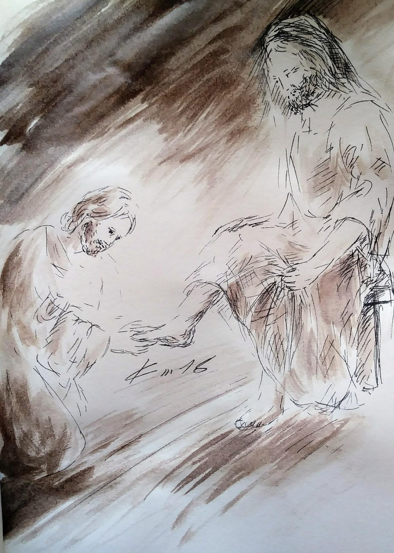 29 mars 2018 evangile du jour illustre par un dessin au lavis de jean joseph chevalier