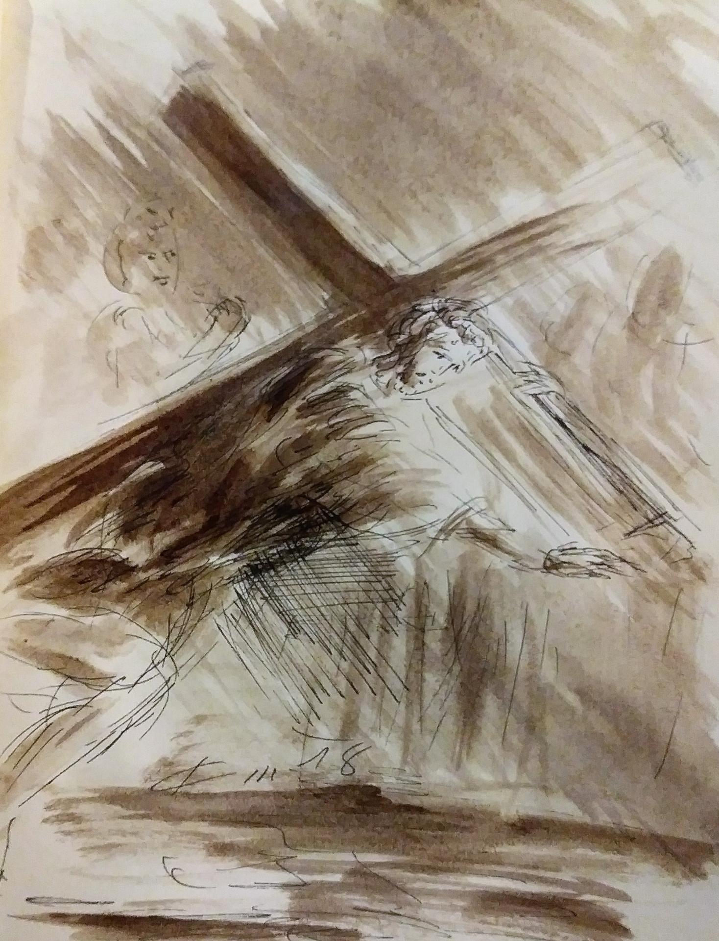 3 chemin de croix premiere station jesus tombe pour la premiere fois dessin au lavis de jean joseph chevalier