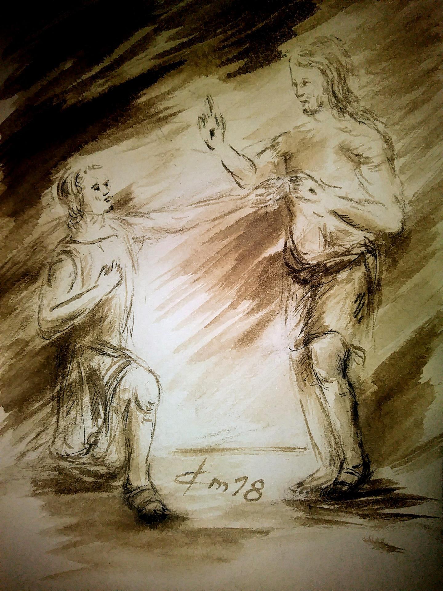 3 juillet 2018 evangile du jour illustre par un dessin au lavis de jean joseph chevalier