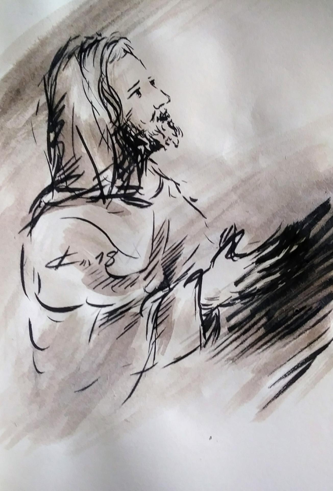 3 Mai 2018, évangile du jour illustré par un dessin au lavis