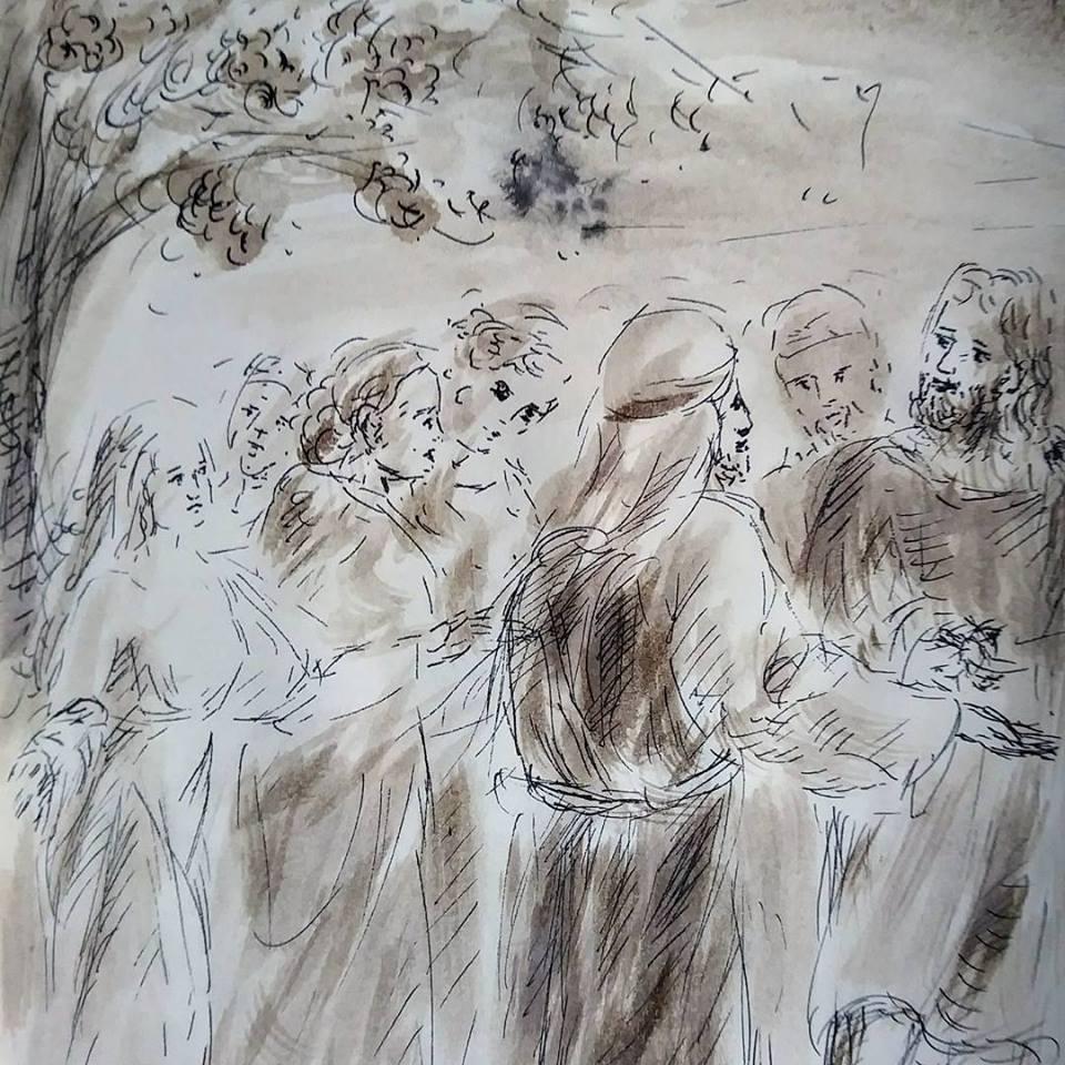 30 Janvier 2018, évangile du jour illustré par un dessin au lavis