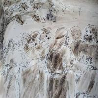 30 janvier 2018 image evangile du jour illustre par un dessin au lavis de jean joseph chevalier