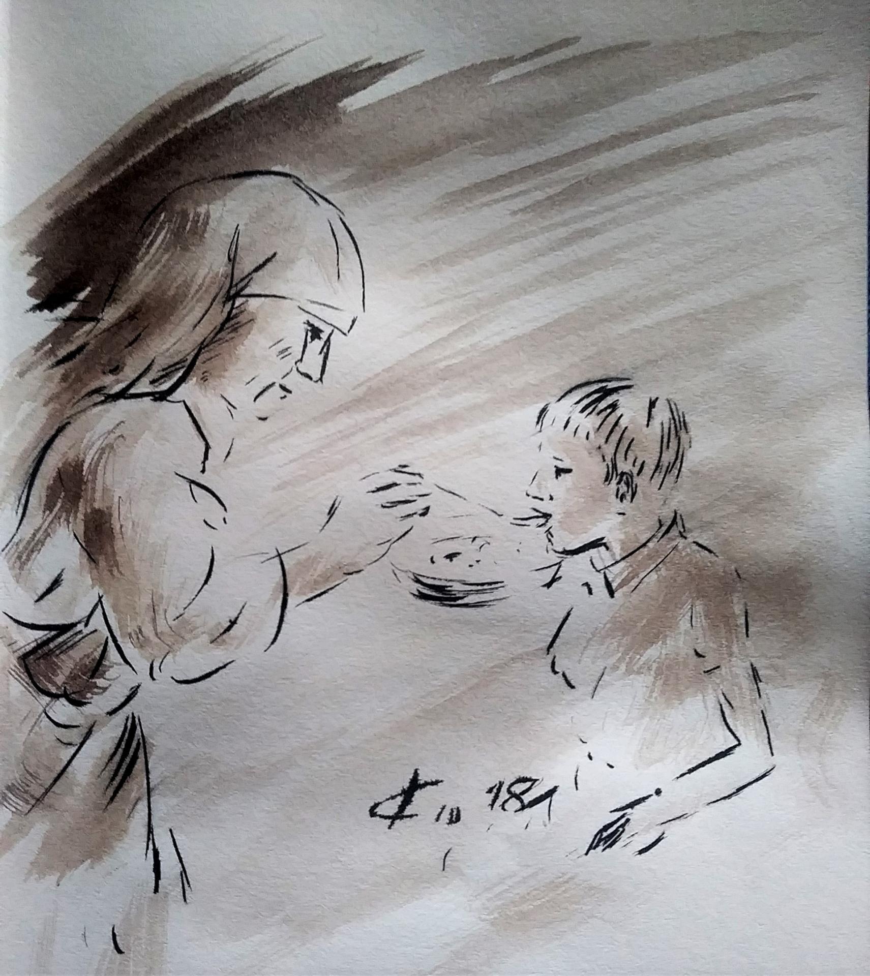 30 Mai 2018, évangile du jour illustré par un dessin au lavis