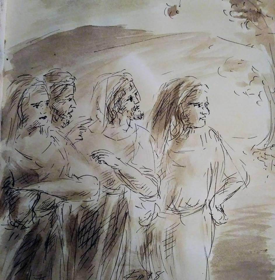 31 Janvier 2018, évangile du jour illustré par un dessin au lavis