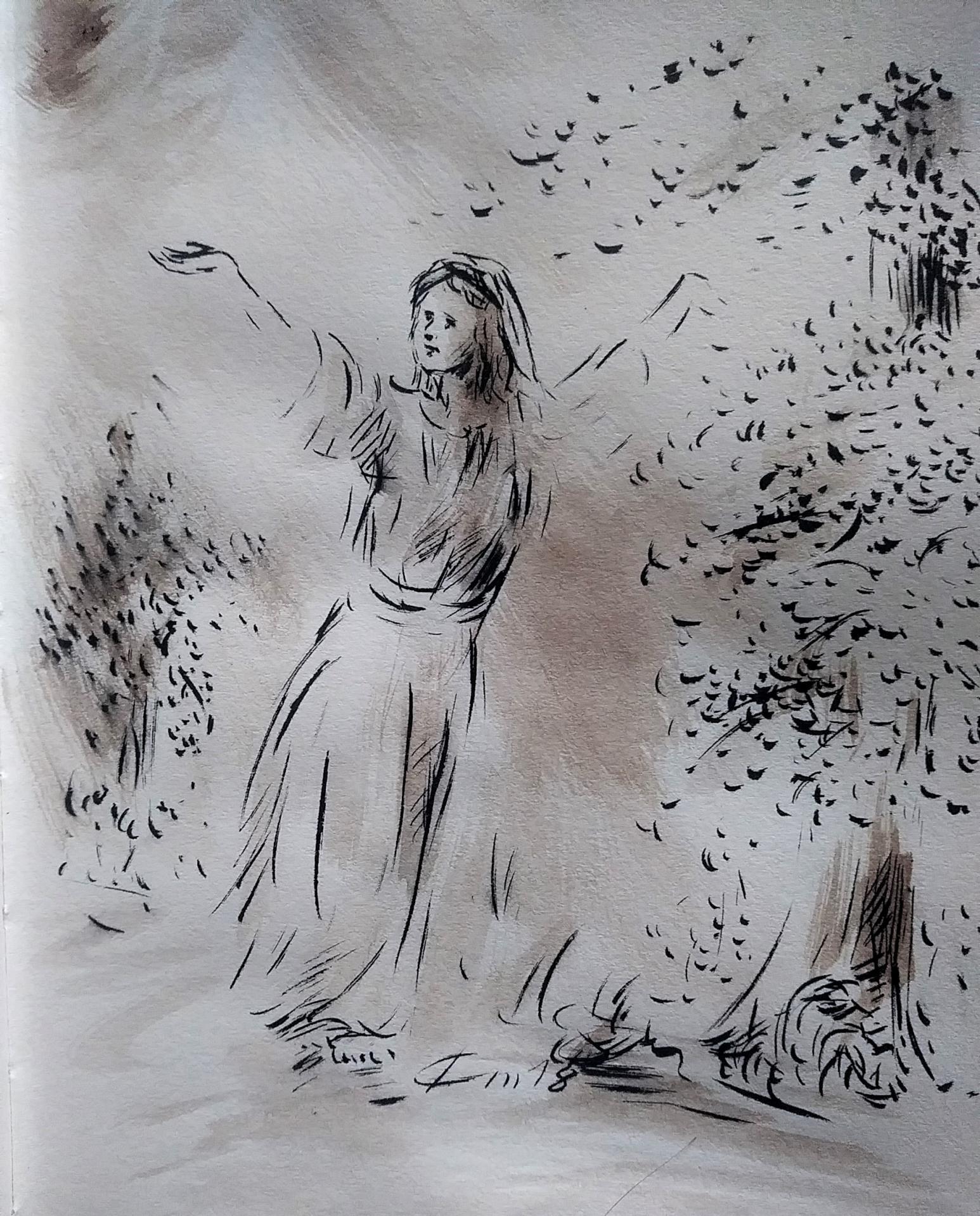 31 Mai 2018, évangile du jour illustré par un dessin au lavis