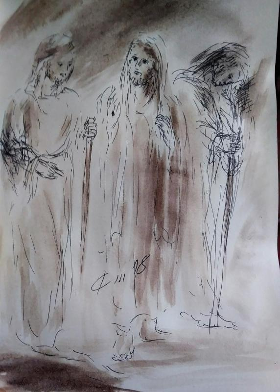 4 avril 2018 evangile du jour illustre par un dessin au lavis de jean joseph chevalier