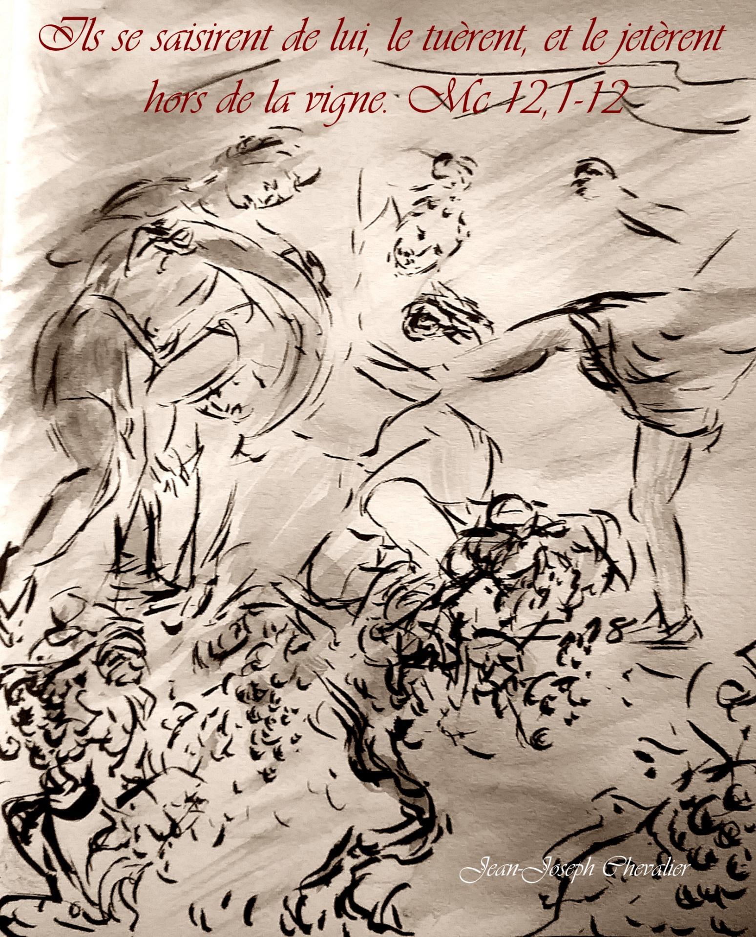 4  Juin 2018, évangile du jour illustré par un dessin au lavis