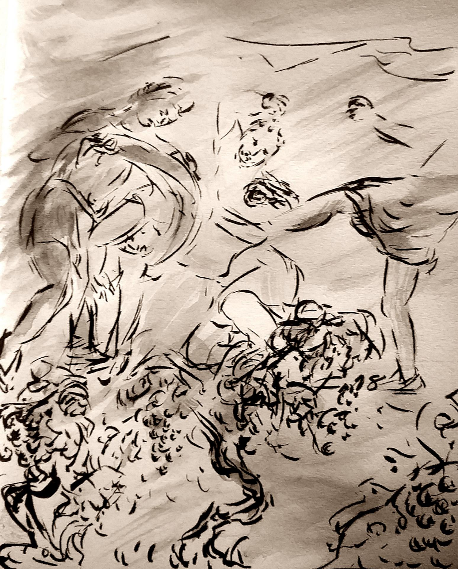 Ils se saisirent de lui, le tuèrent et le jetèrent hors de la vigne 4 juin 2018 evangile du jour illustre par un dessin au lavis de jean joseph chevalier