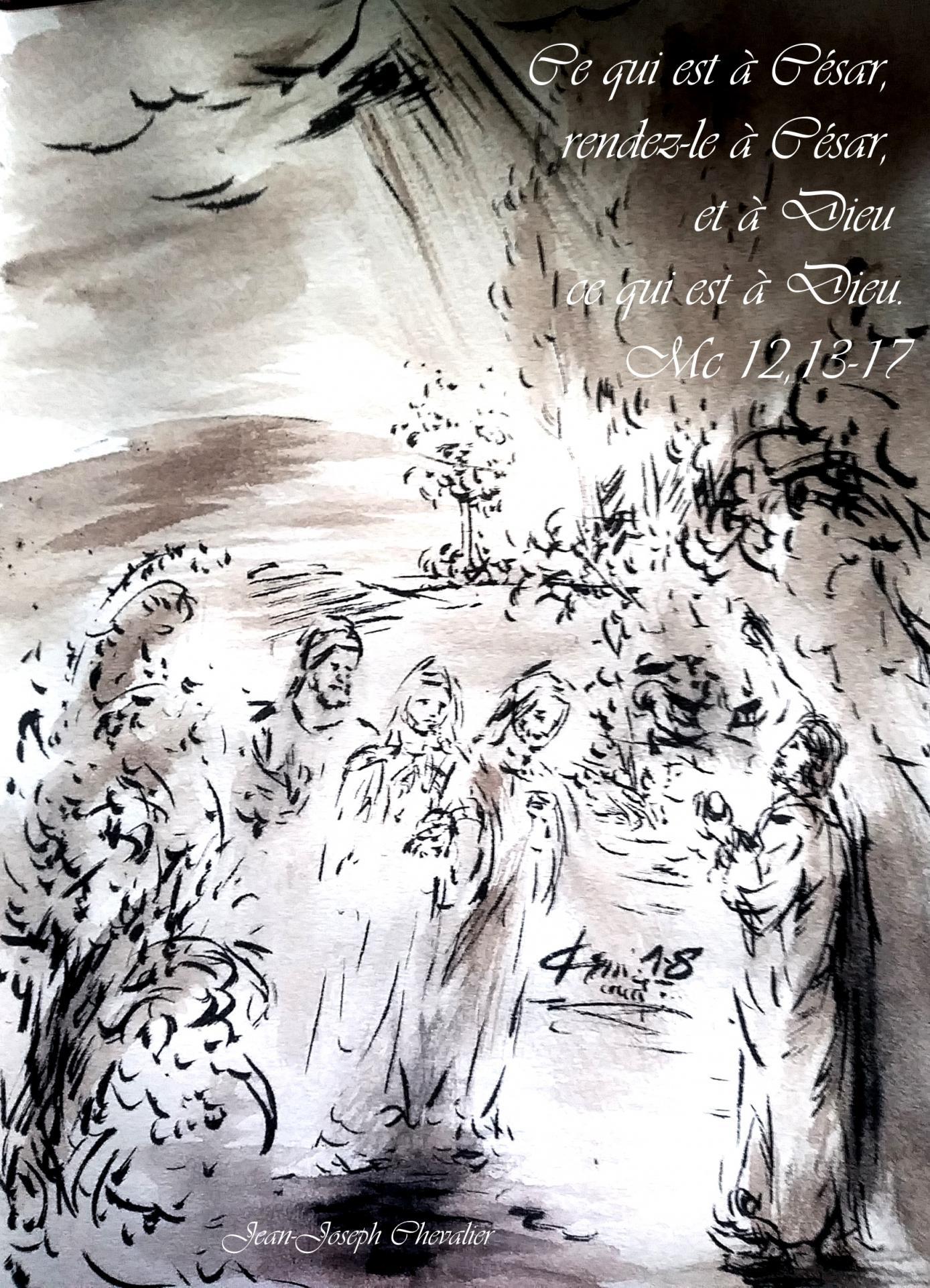 5  Juin 2018, évangile du jour illustré par un dessin au lavis