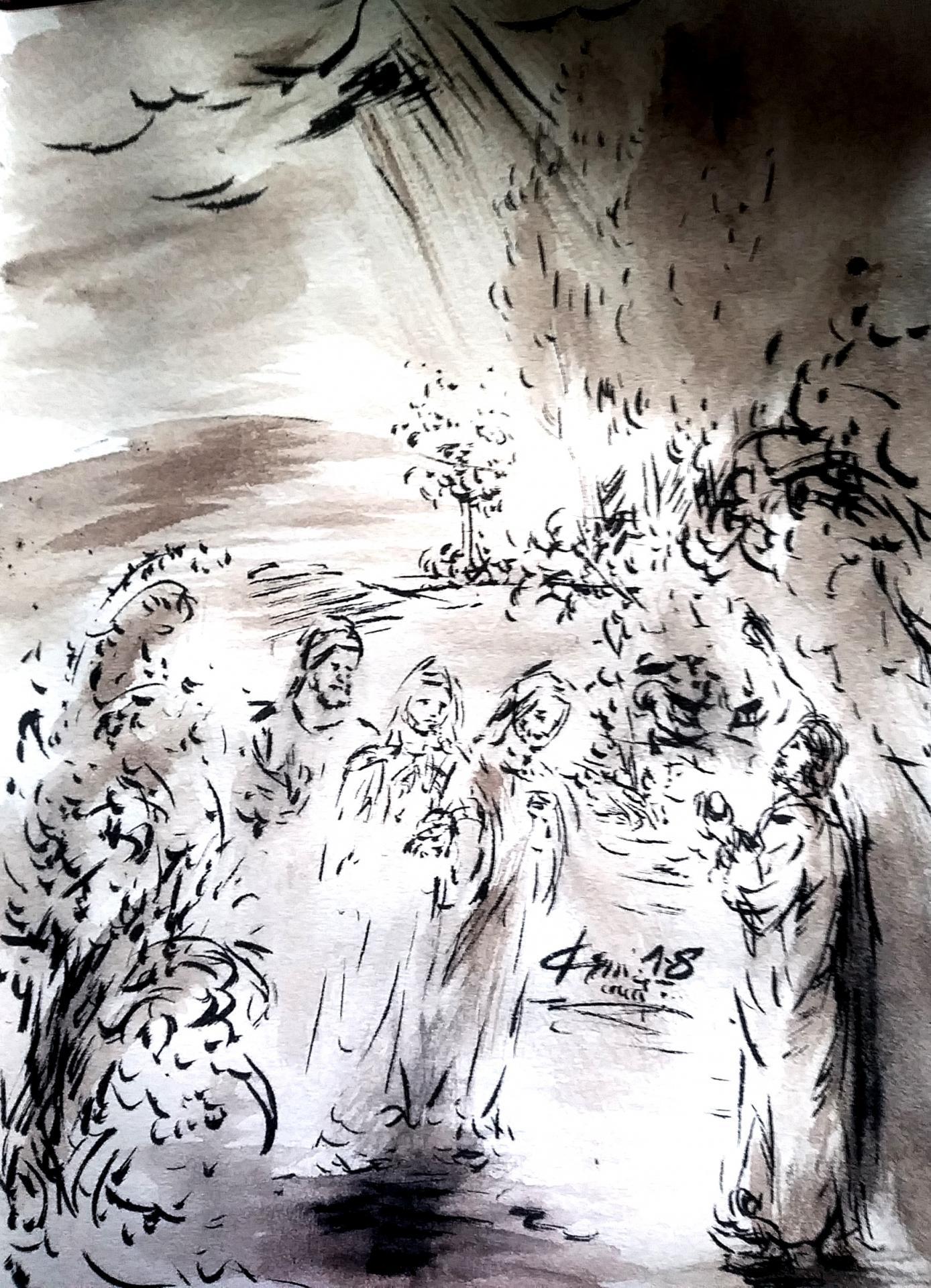 5 juin 2018 evangile du jour illustre par un dessin au lavis de jean joseph chevalier