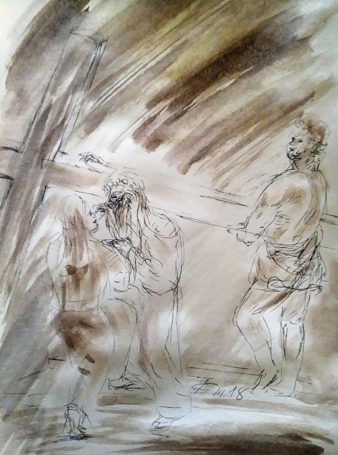 6 chemin de croix sixieme station veronnique essuie le visage de jesus dessin au lavis de jean joseph chevalier