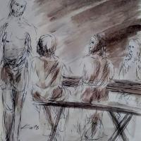 7 avril 2018 evangile du jour illustre par un dessin au lavis de jean joseph chevalier