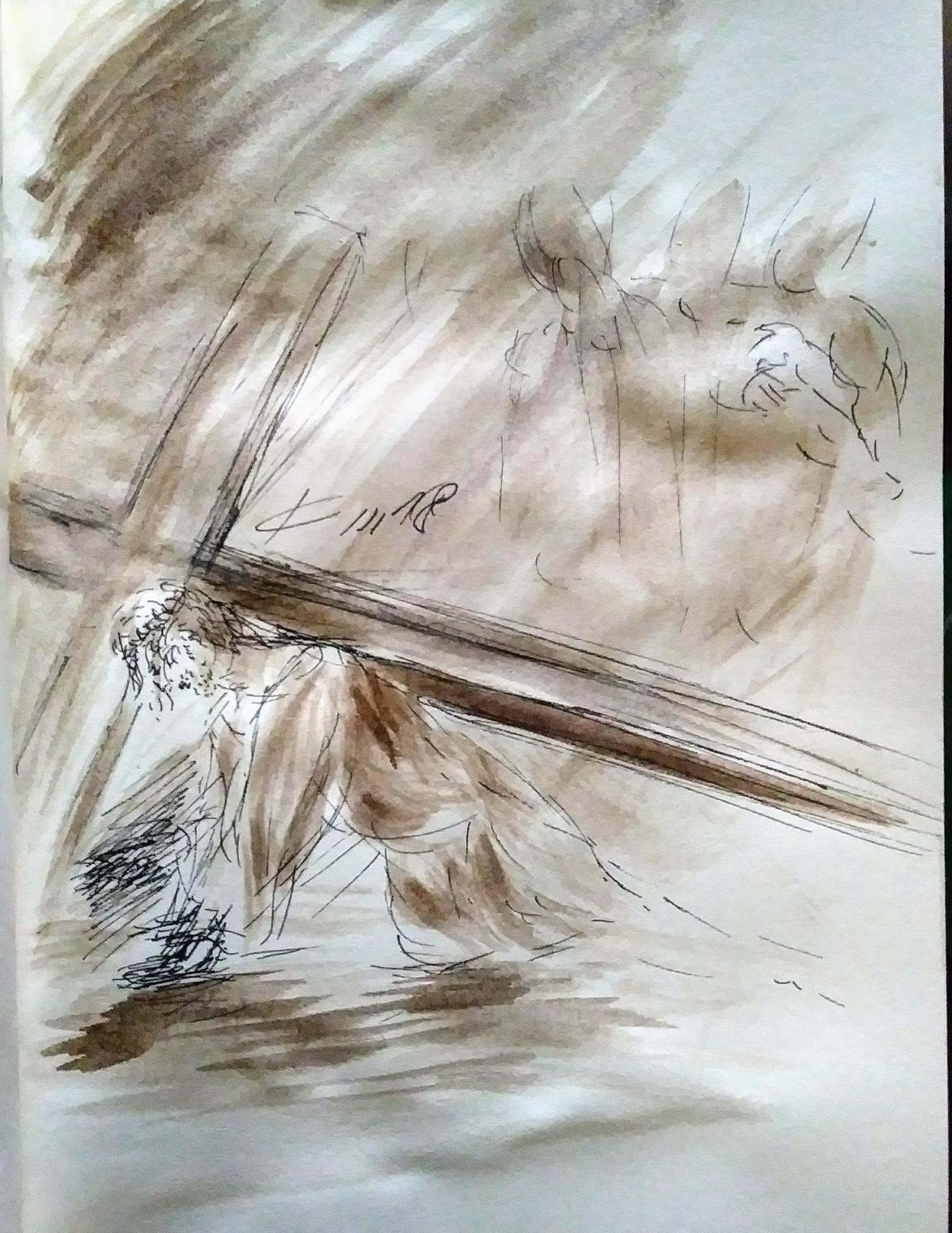 7 chemin de croix septeme station jesus tombe pour la deuxieme fois dessin au lavis de jean joseph chevalier