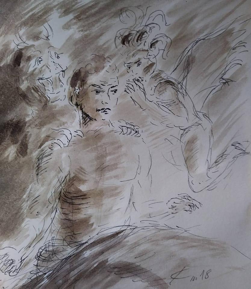 7 février 2018, évangile du jour illustré par un dessin au lavis