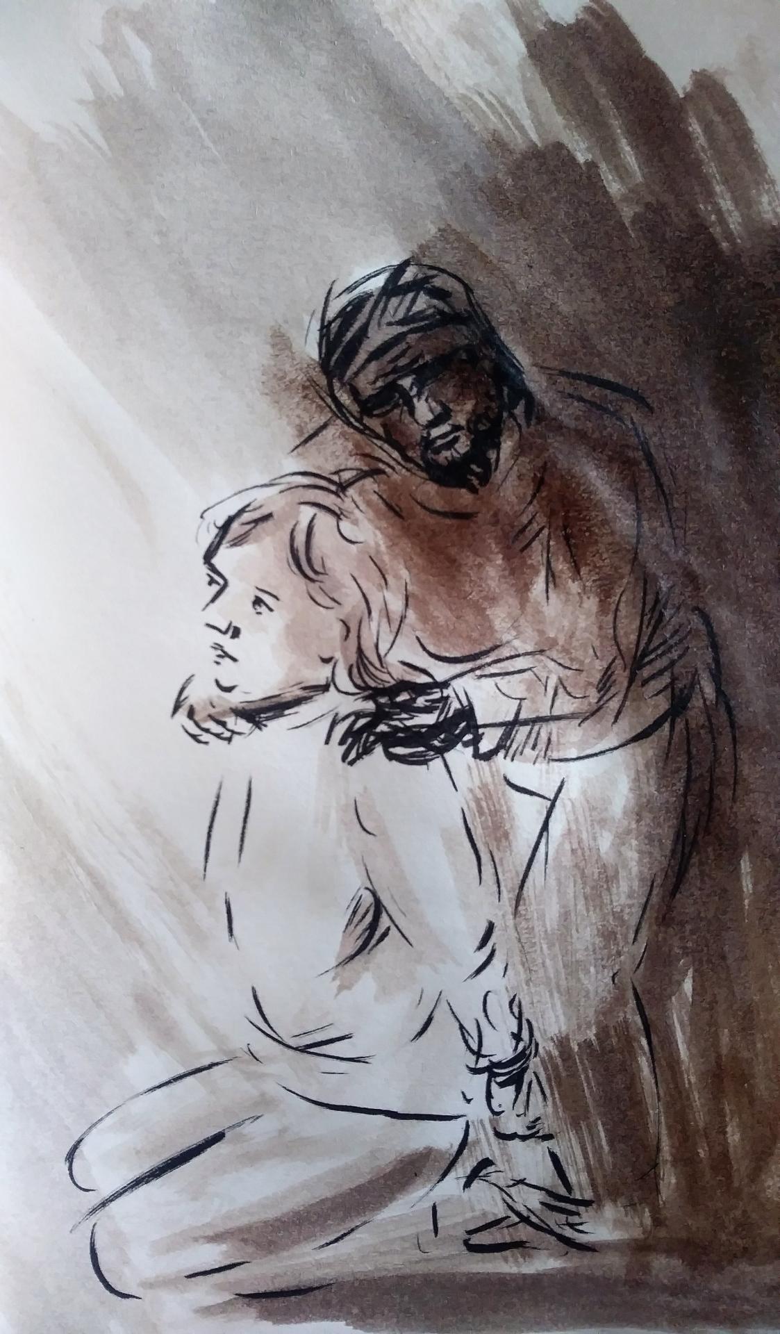 7 Mai 2018, évangile du jour illustré par un dessin au lavis