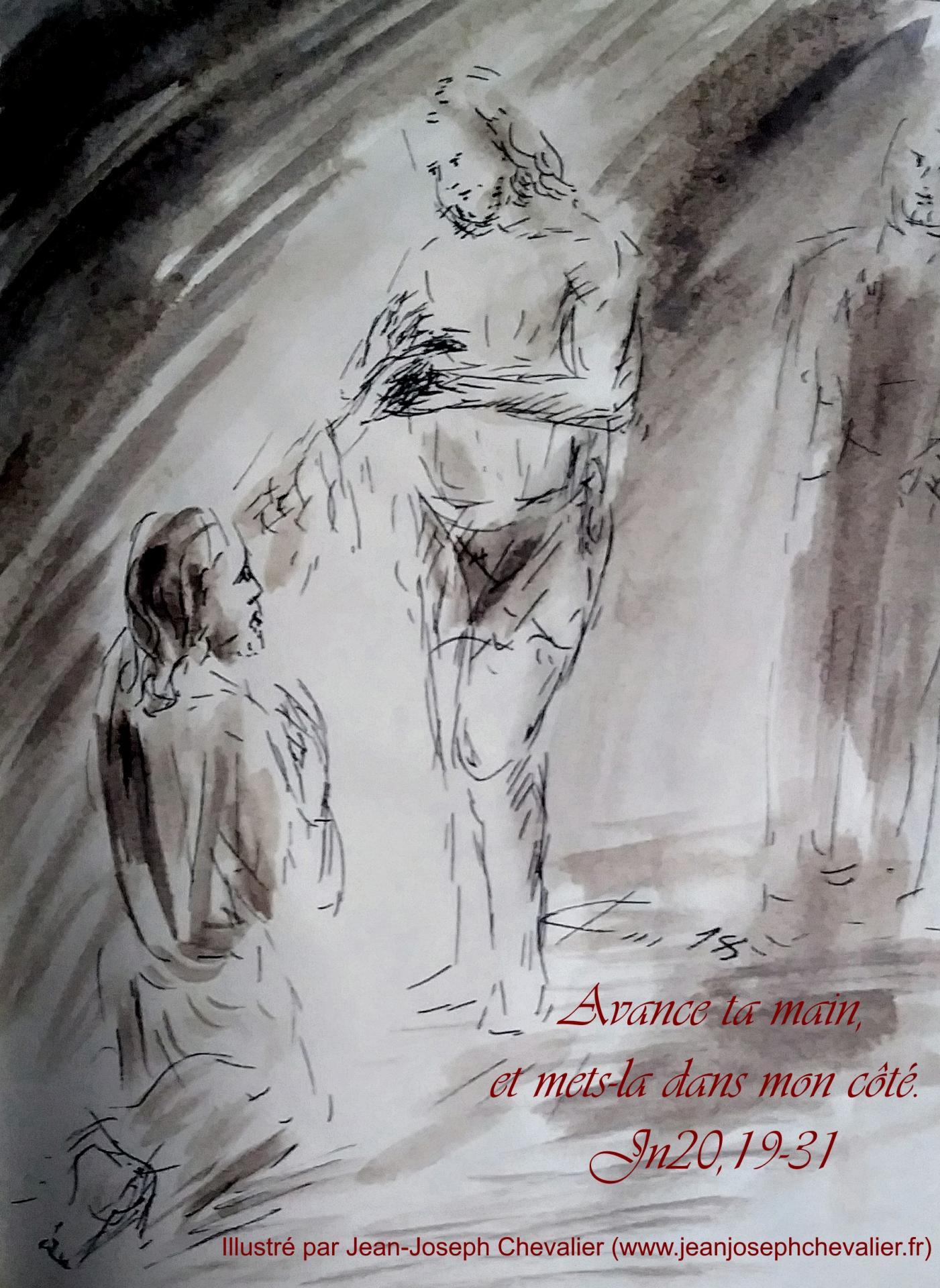 8 avril 2018 evangile du jour illustre par un dessin au lavis de jean joseph chevalier image