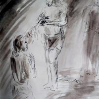 8 avril 2018 evangile du jour illustre par un dessin au lavis de jean joseph chevalier
