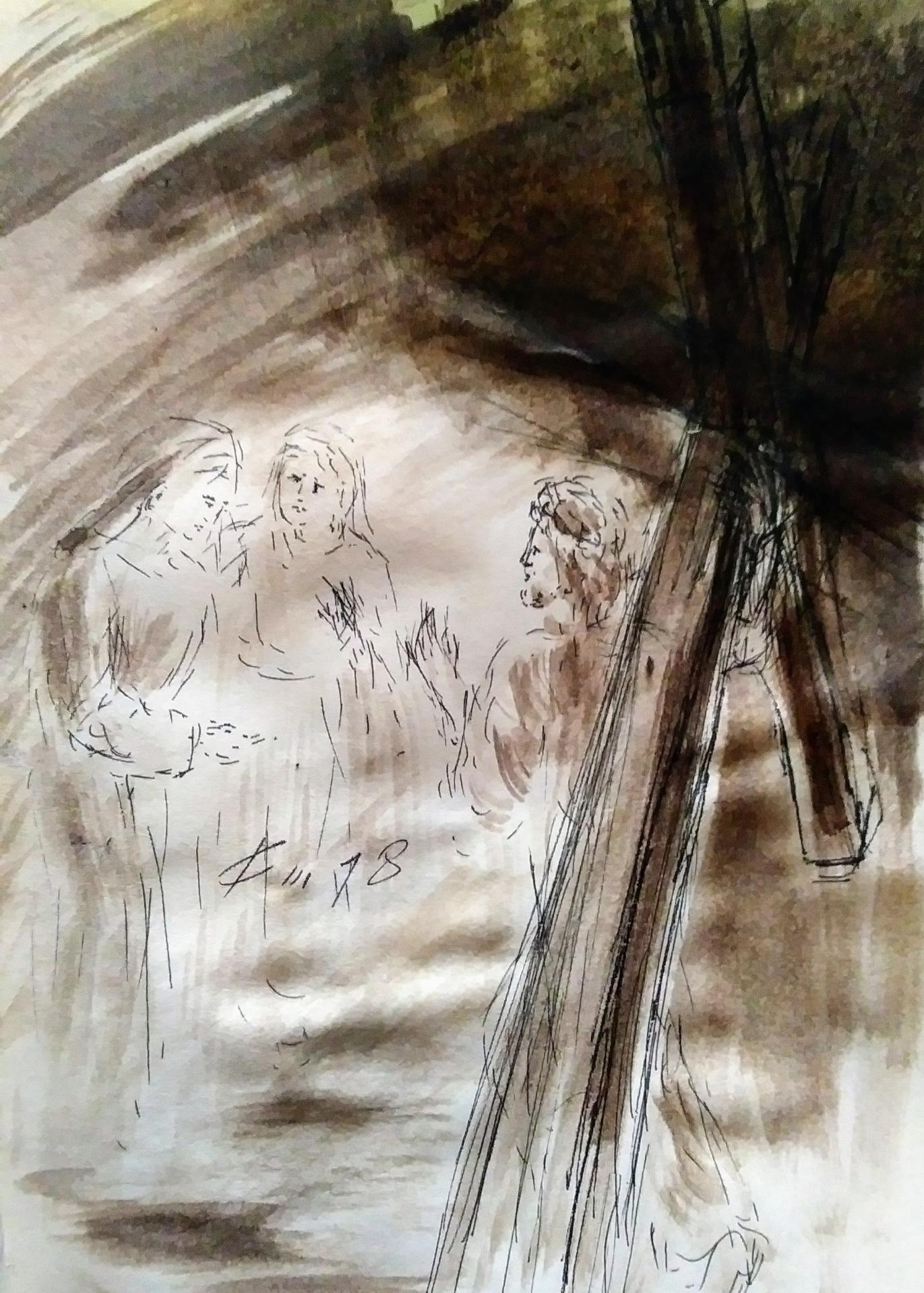 8 chemin de croix huitieme station jesus console les femmes de jerusalem qui pleurent dessin au lavis de jean joseph chevalier 1