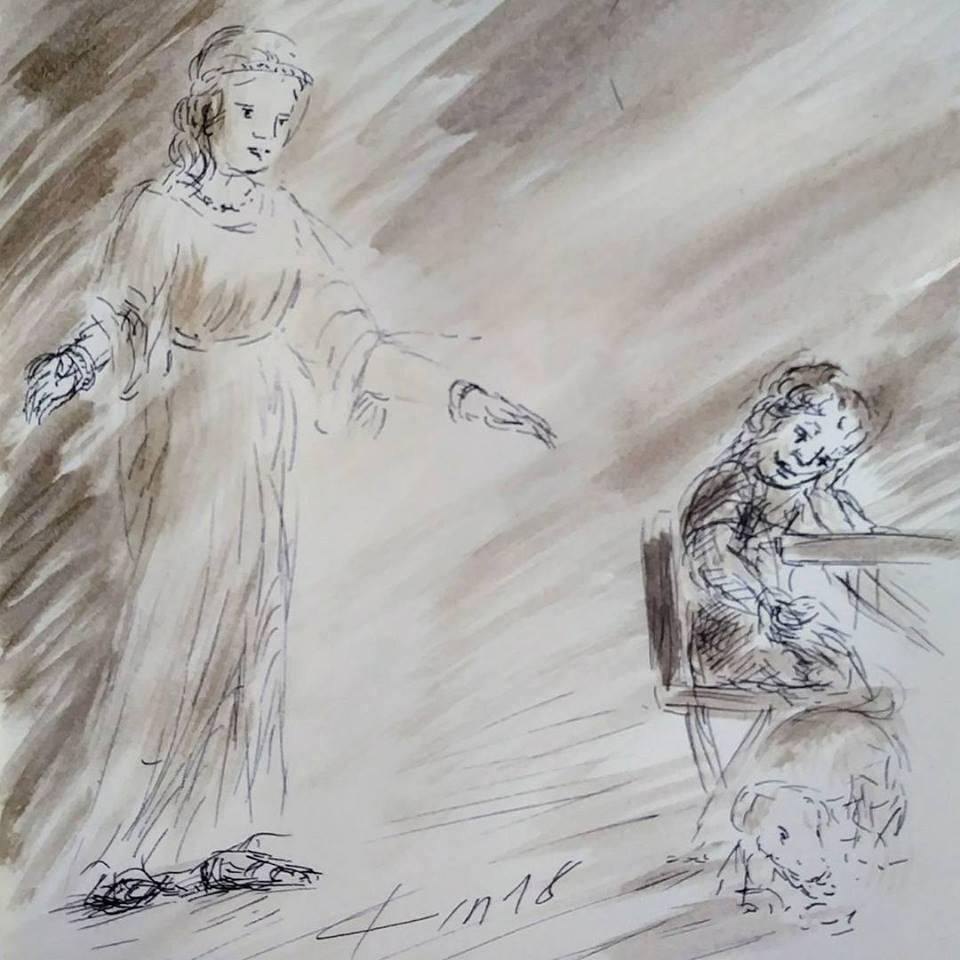 8  février 2018, évangile du jour illustré par un dessin au lavis