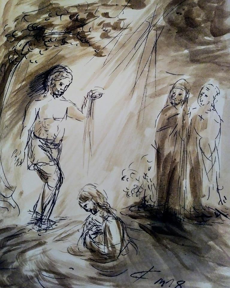 8 Janvier 2018, évangile du jour illustré par un dessin au lavis
