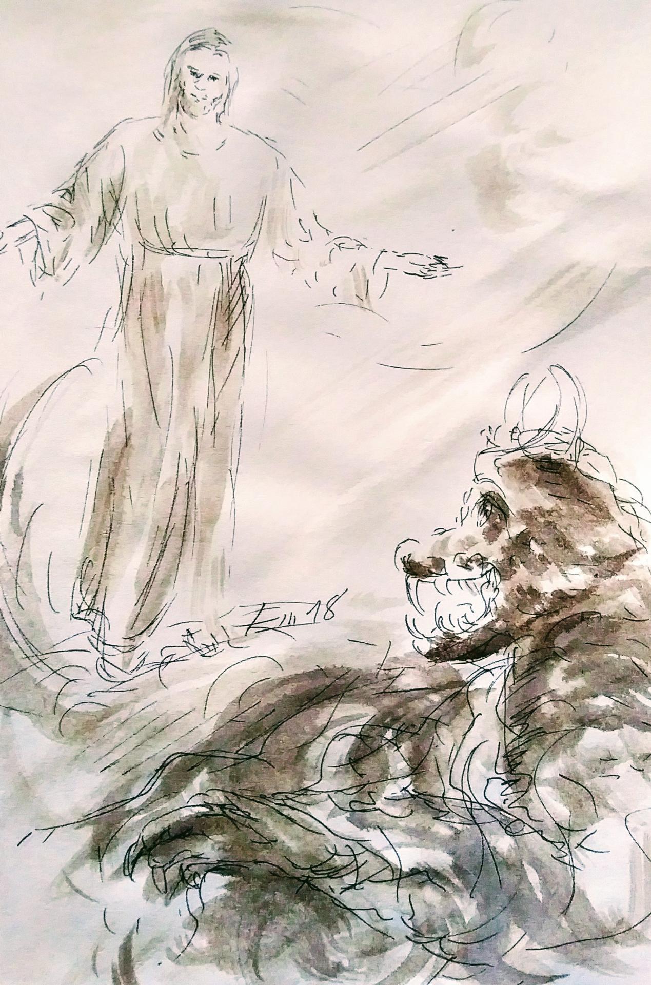 8 mars 2018 evangile du jour illustre par un dessin au lavis de jean joseph chevalier
