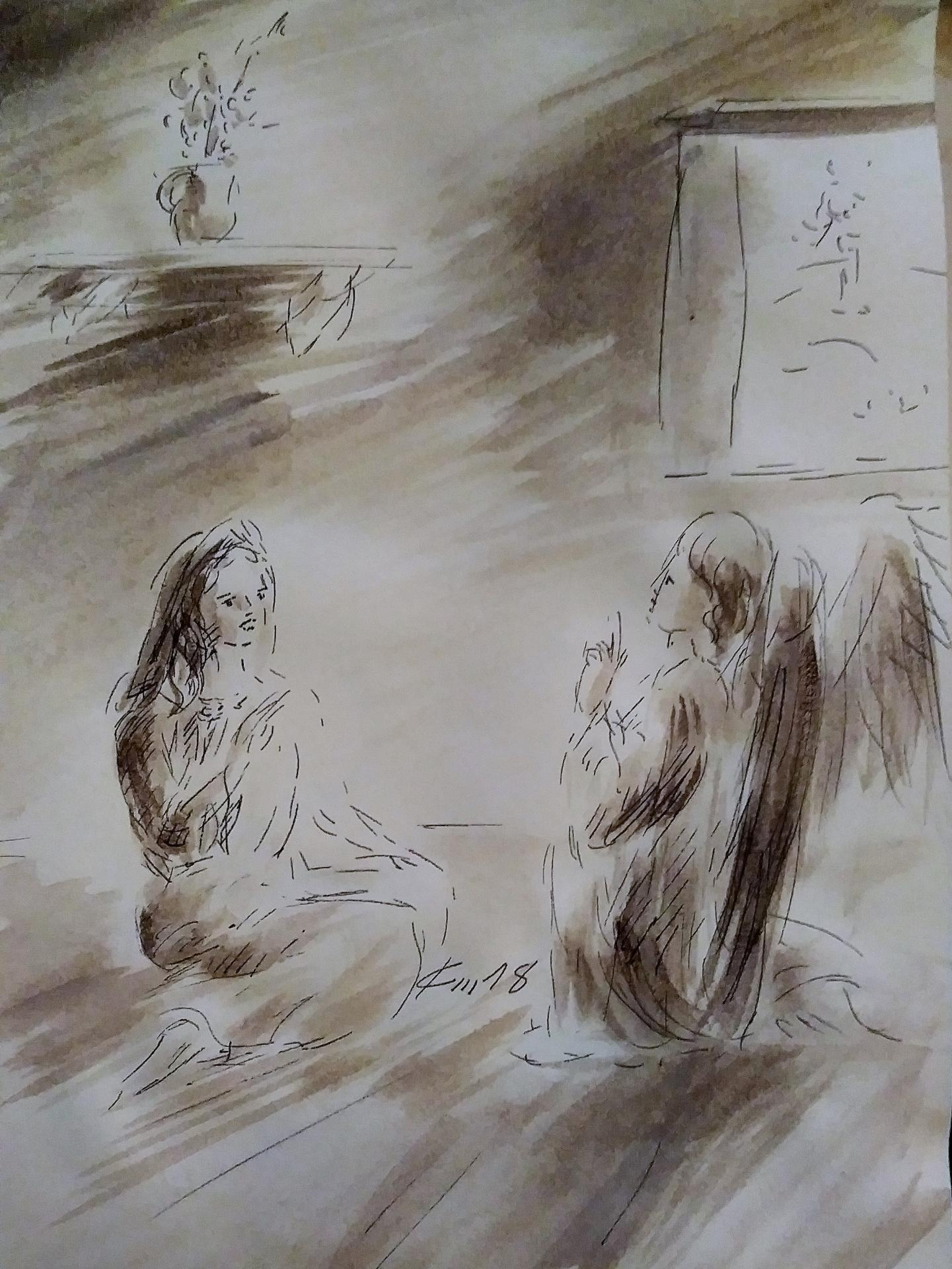 9 avril 2018 evangile du jour illustre par un dessin au lavis de jean joseph chevalier