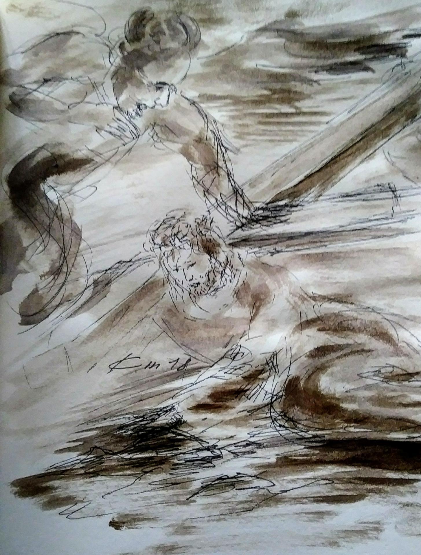 9 chemin de croix neuvieme station jesus tombe pour la troisieme fois dessin au lavis de jean joseph chevalier