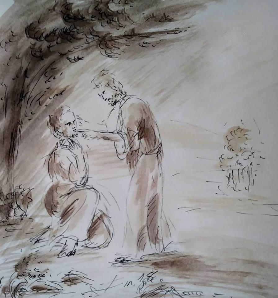 9  février 2018, évangile du jour illustré par un dessin au lavis