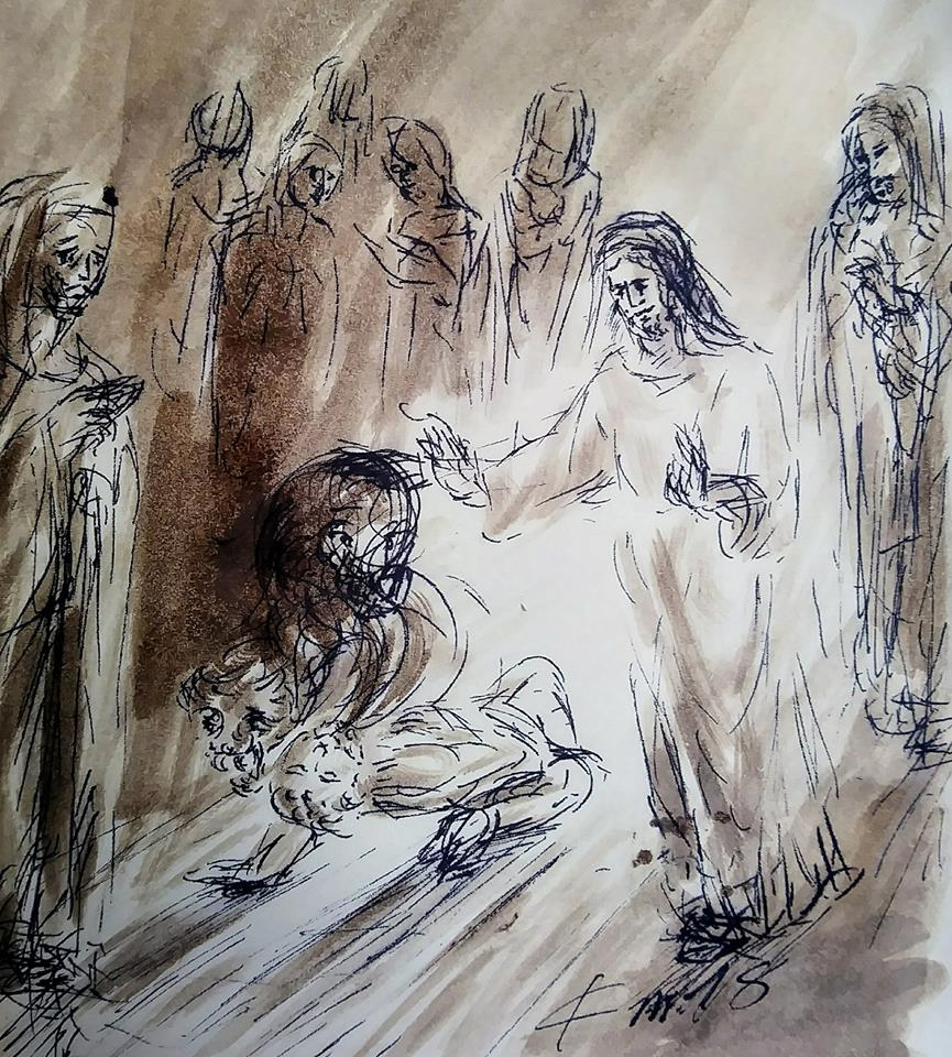 9 Janvier 2018, évangile du jour illustré par un dessin au lavis