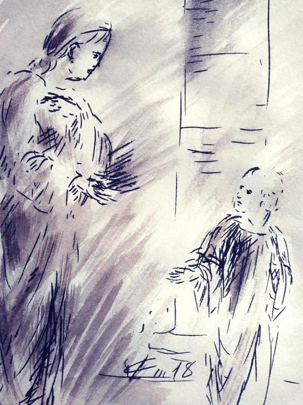 9 juin 2018 evangile du jour illustre par un dessin au lavis de jean joseph chevalier