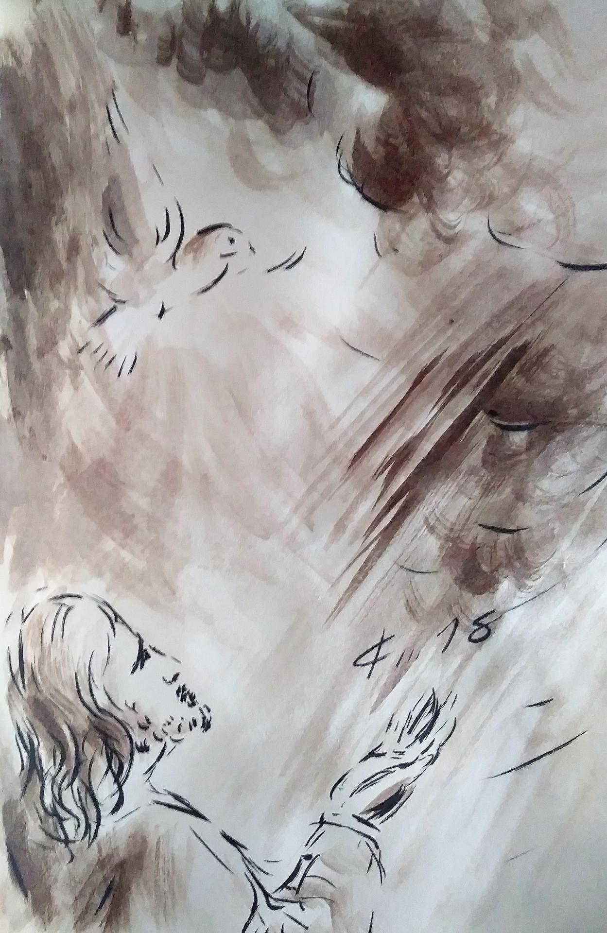9 mai 2018 evangile du jour illustre par un dessin au lavis de jean joseph chevalier