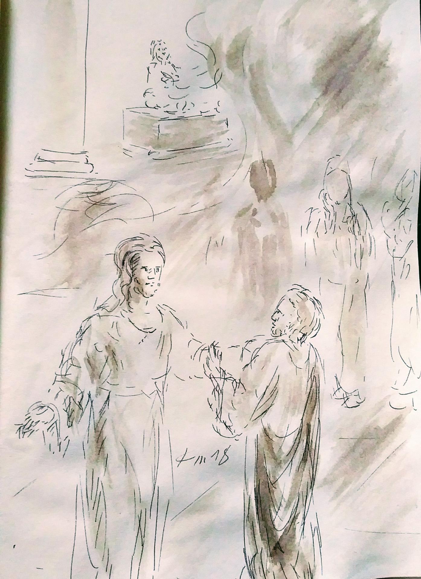 9 mars 2018 evangile du jour illustre par un dessin au lavis de jean joseph chevalier