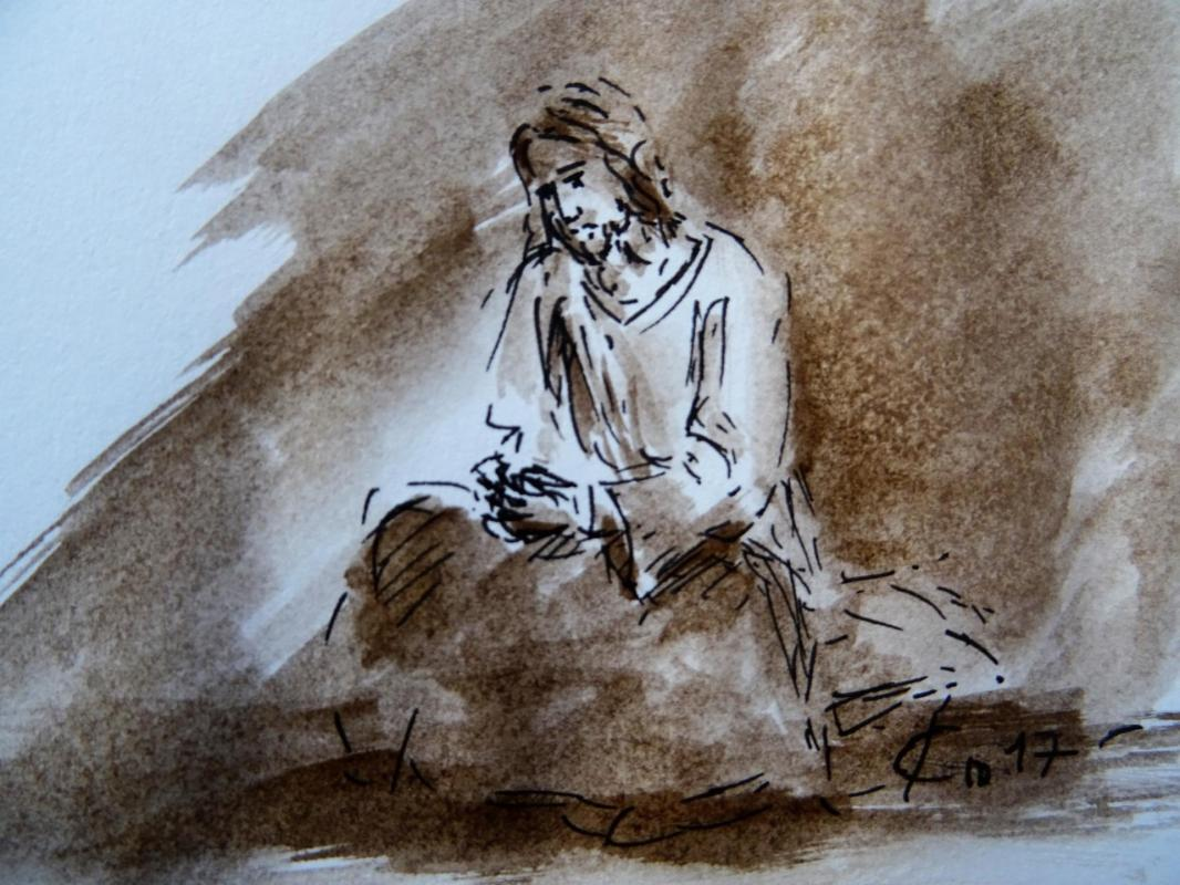 Agonie dessin au lavis de jean joseph chevalier 157