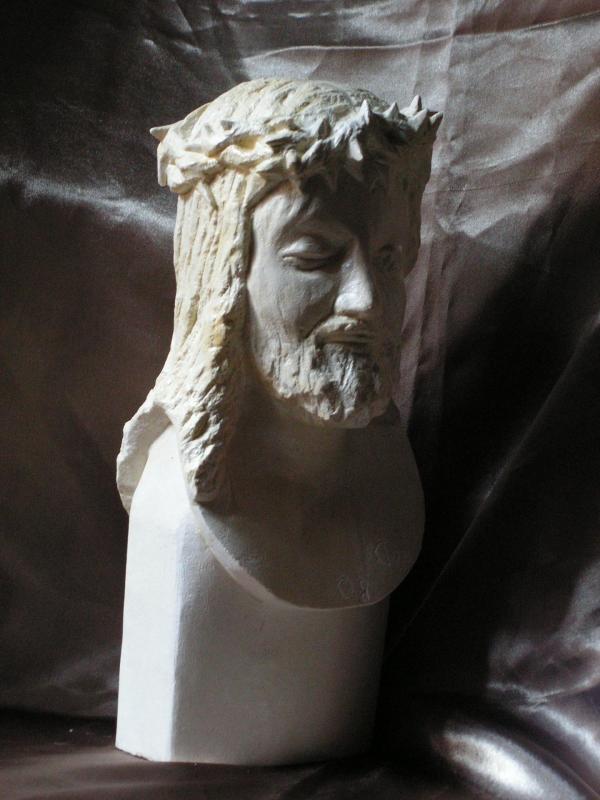 Buste d un christ couronne d epine 30cm 10